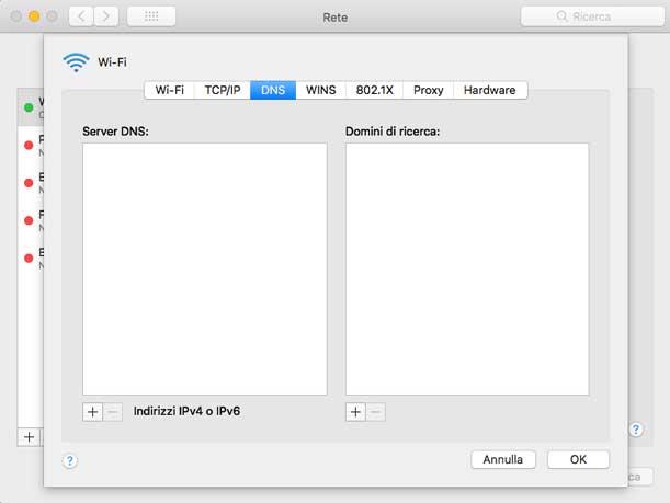 Configurazione DNS Telelcom Mac